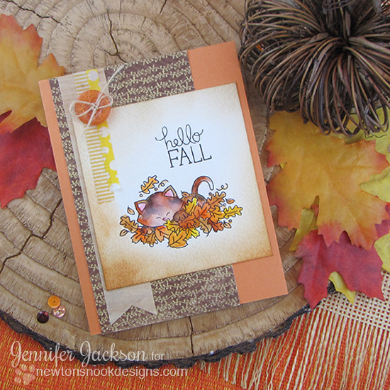 Kitty in Leaves Card by Jennifer Jackson | Hello Fall Stamp set by Newton's Nook Designs