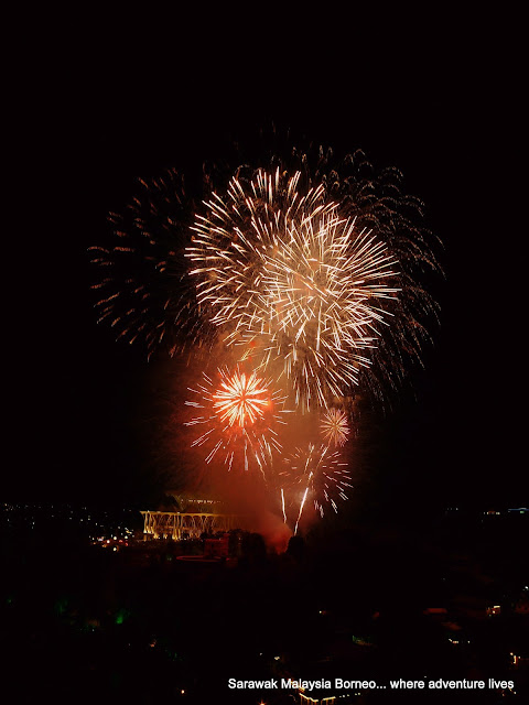 Fireworks above the State Legislative Assembly | Sarawak Malaysia Borneo