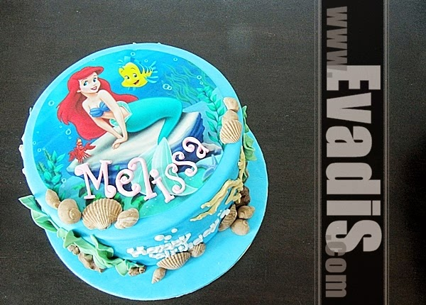 Top view picture of Little Mermaid Cake