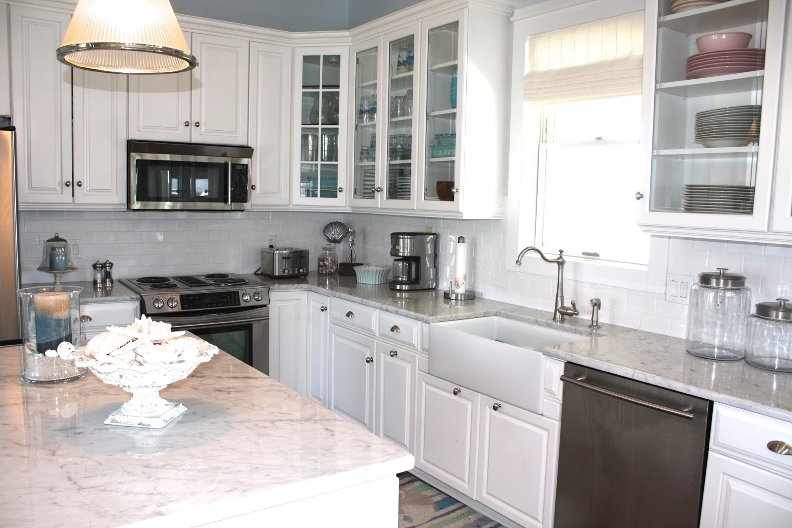 Sea glass cottage beach cottage kitchen for House kitchen cabinets