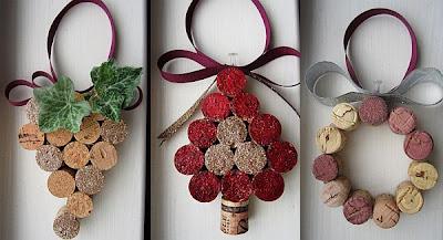 Ornamentos feitos com rolhas de cortiça recicladas DIY