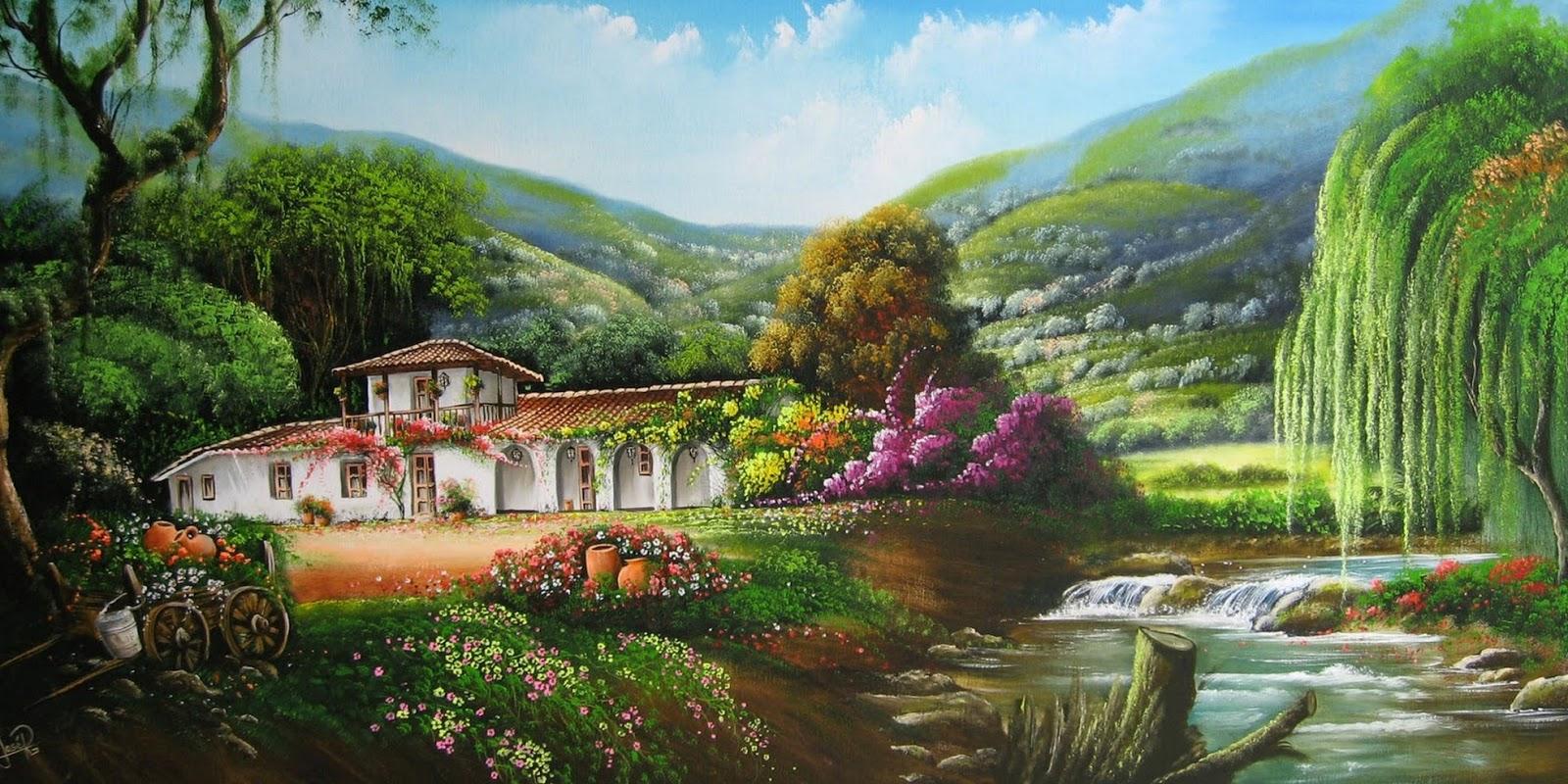 Im genes arte pinturas paisajes campestres jos ra l - Paisajes de casas ...