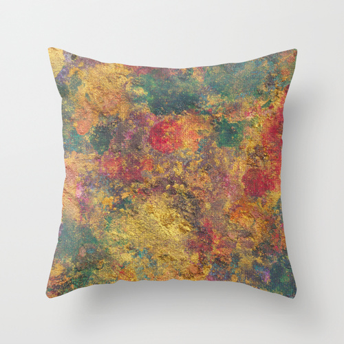 catherine masi colorful metallic watercolor throw pillow