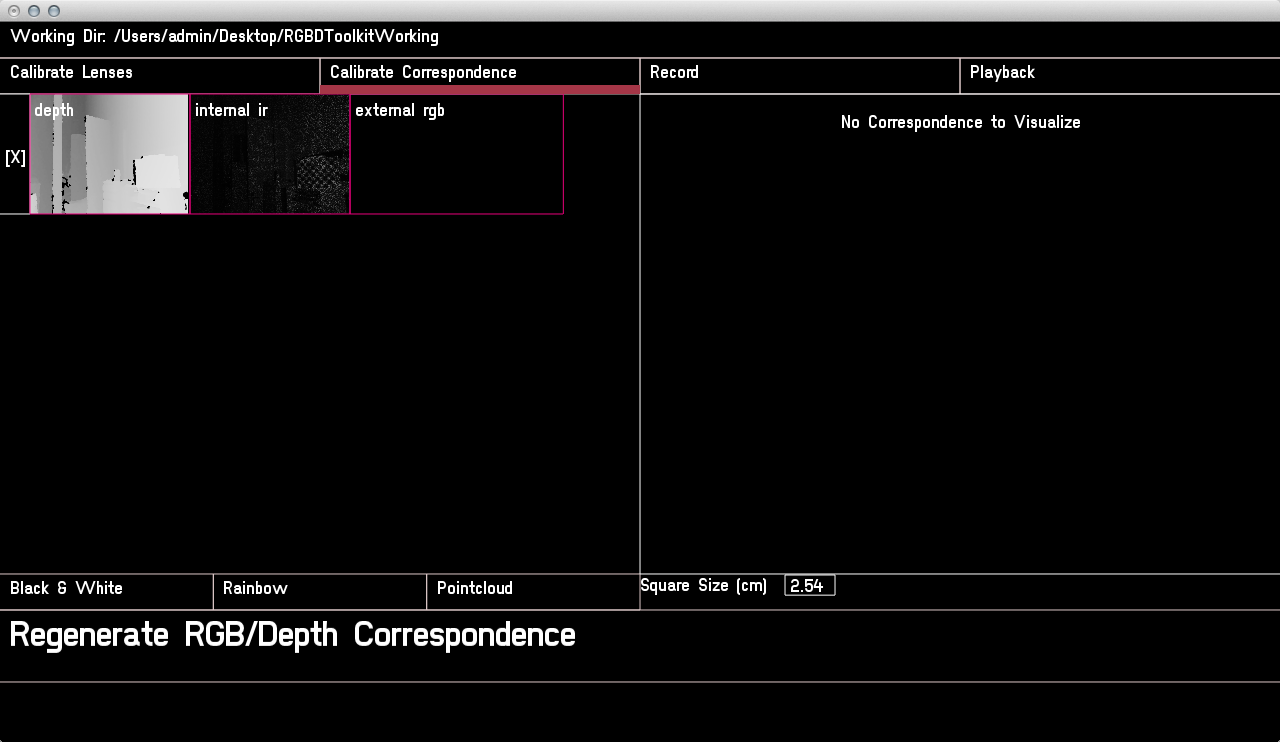 The calibrate correspondence screen