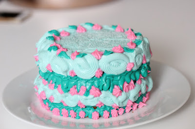 Colorful cake with decorative piping