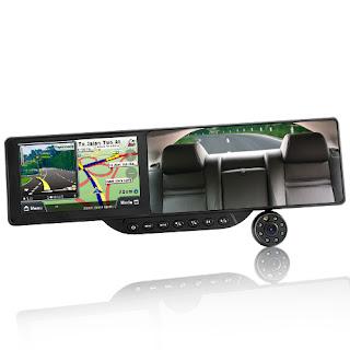 Kaca Spion Dalam Kendaraan Beroda Empat Dengan Bluetooth Dan Gps