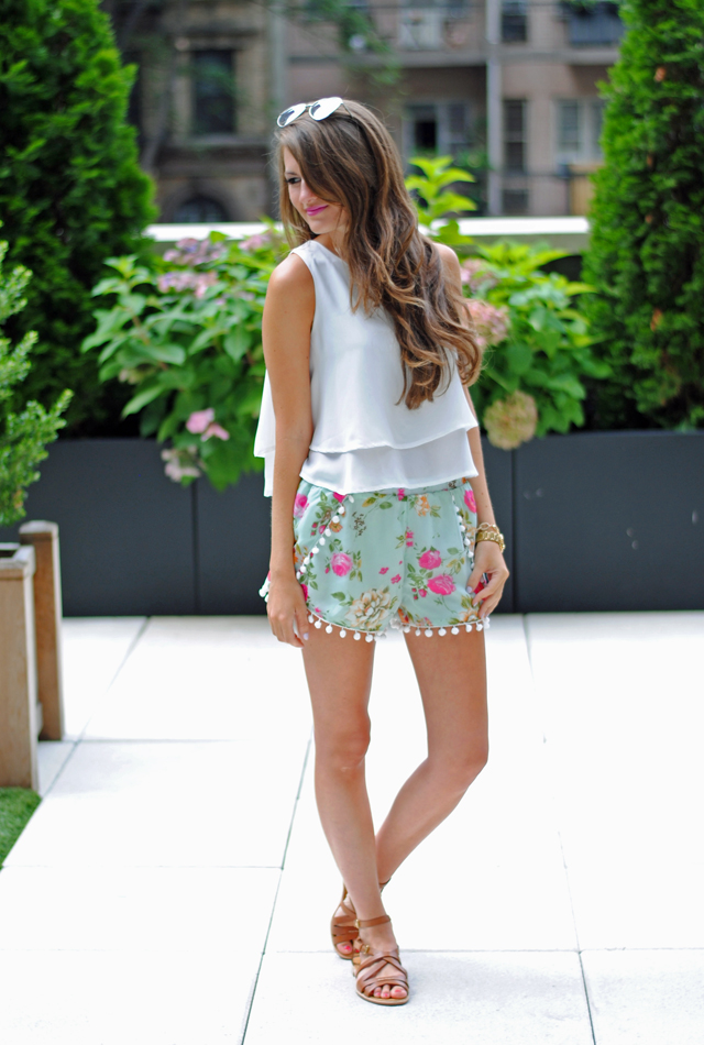Pom pom shorts with a flowy white top