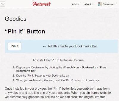 Install a Pinterest button to your bookmarks bar to pin images from the web