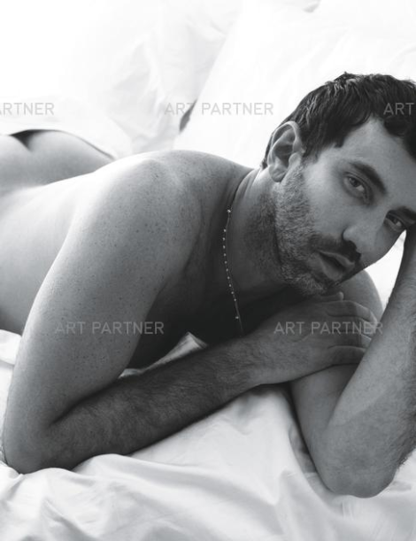 Riccardo Tisci naked in bed by Mert & Marcus for W
