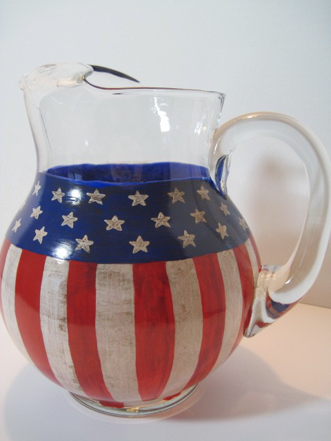 Americana Hand Painted Pitcher
