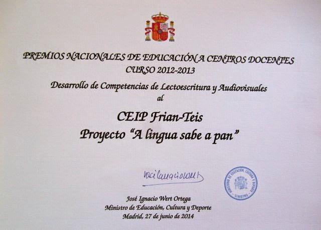 PREMIO NACIONAL DE EDUCACIÓN A CENTROS DOCENTES 2012 - 2013