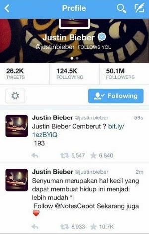 Twitter Justin Bieber di Hack Orang Indonesia ?