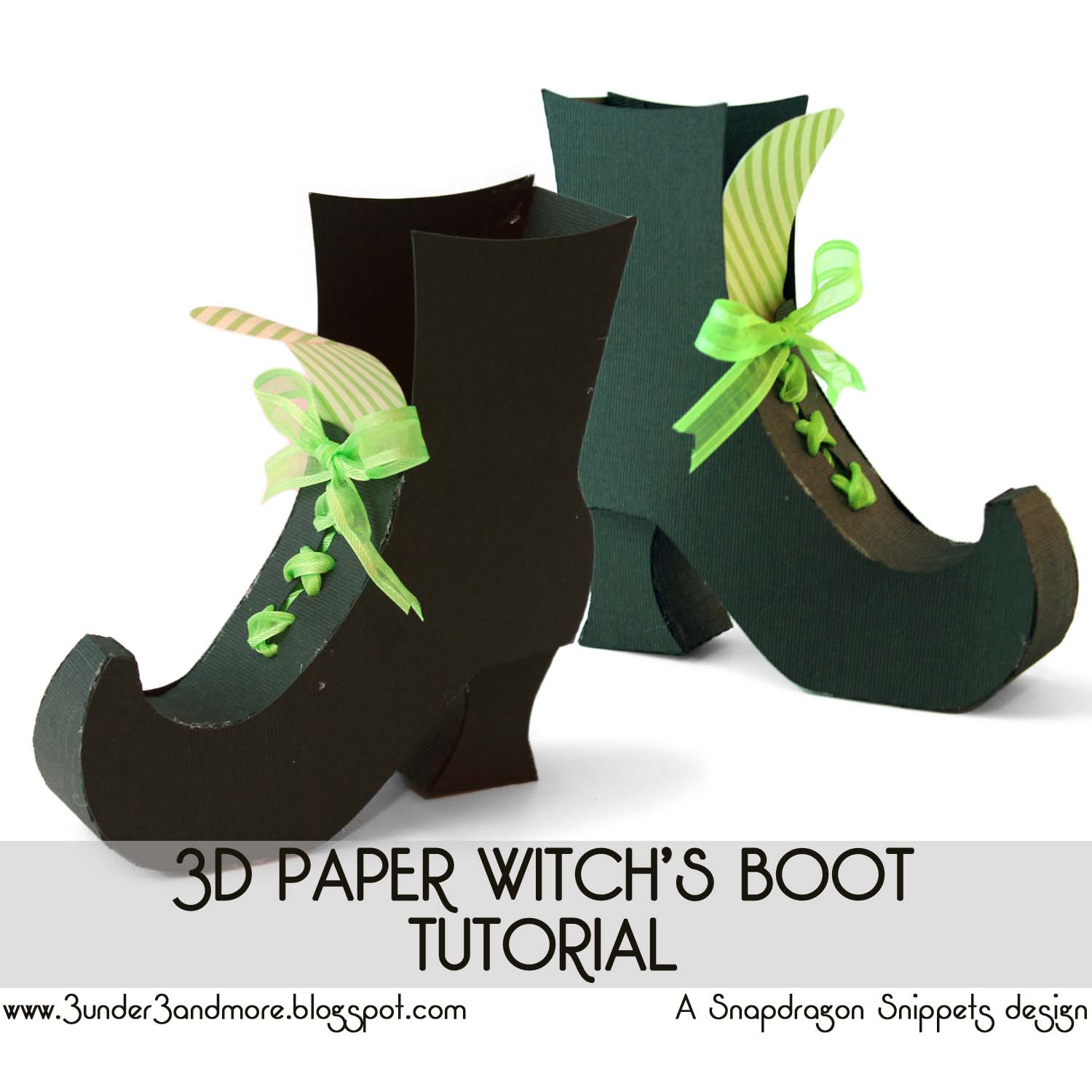 under 3 and more: 3D Paper Witch's Boot Tutorial