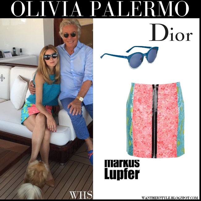 Olivia Palermo in blue top, pink green marble print front zip Markus Lupfer Ashley mini skirt and round sunglasses Dior sideral what she wore july 26 yacht