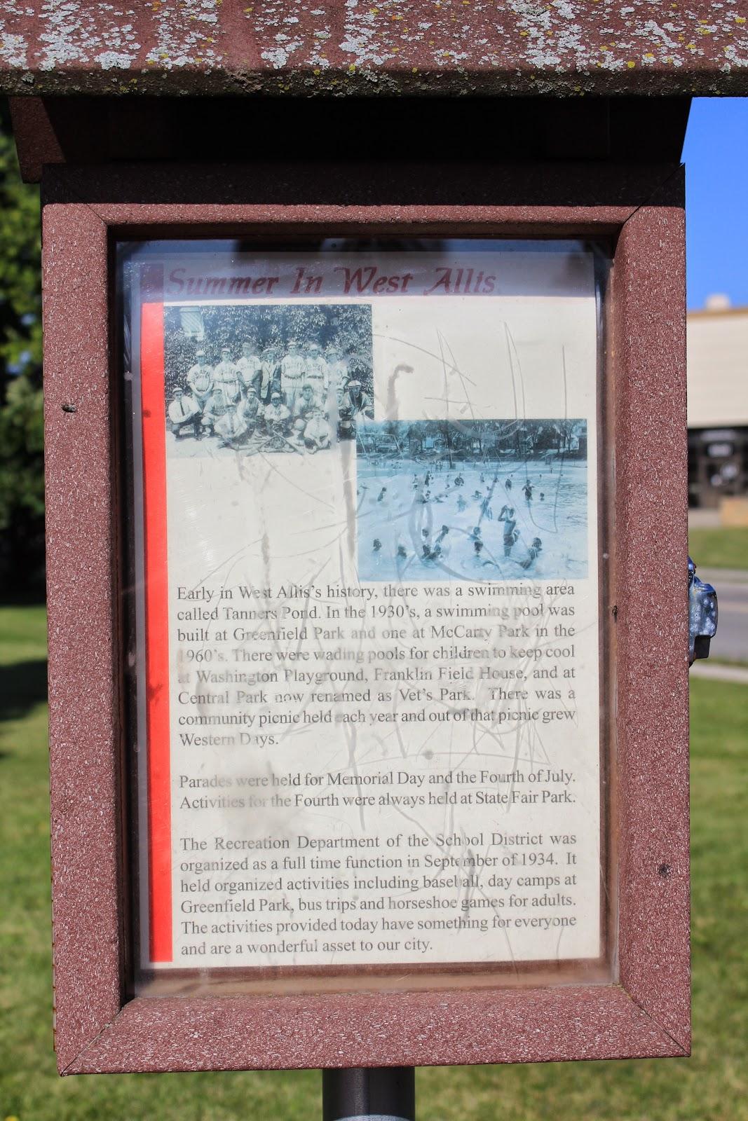 Wisconsin historical markers summer in west allis - Washington park swimming pool milwaukee ...
