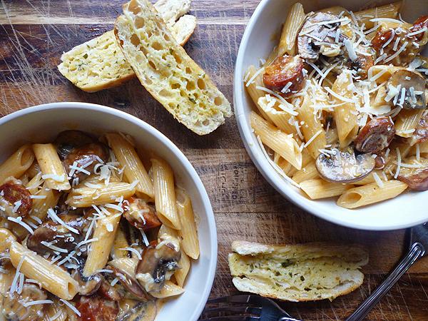 Chorizo and Chestnut Mushroom Carbonara Recipe