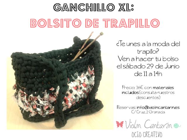 Ganchillo, crochet, trapillo, bolso, Violín Cantarín