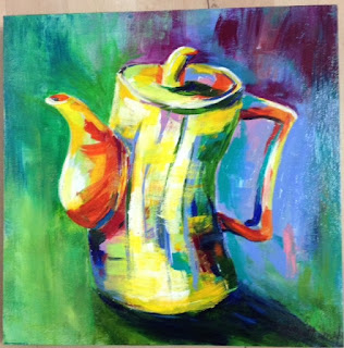 Coffee Pot, painting, stylised, Rita Milton