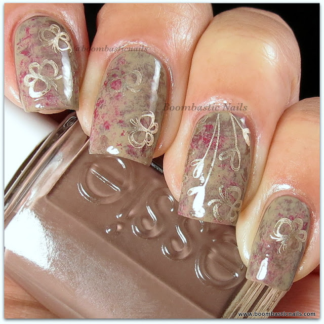 Saran Wrap Mani with stamping by Boombastic Nails