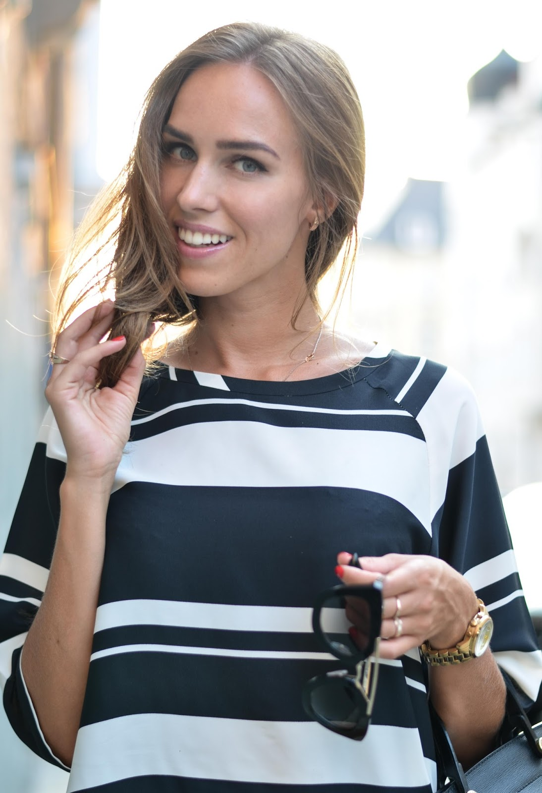 kristjaana mere black white lindex striped top