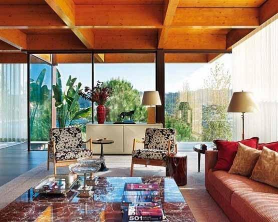 Rumah Modern di Portugal, interior desain, sofa