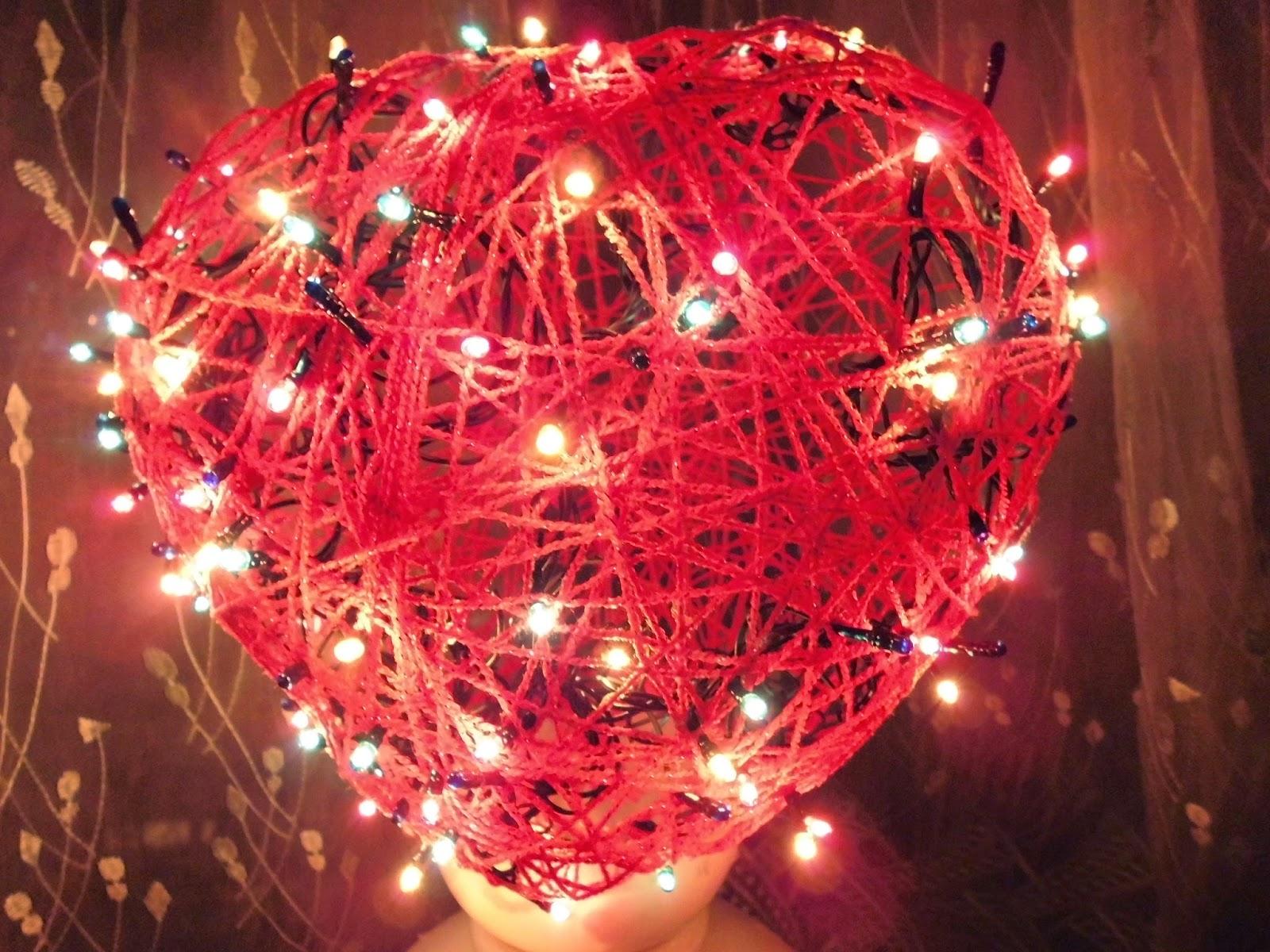 Сердце из ниток и шара