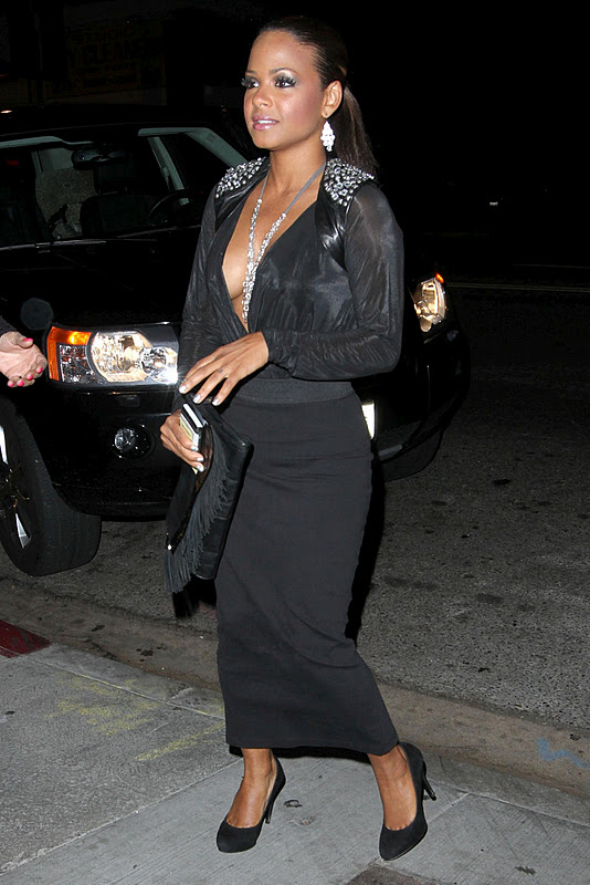 Christina Milian – Cleavage Candids at Rosa in West Hollywood