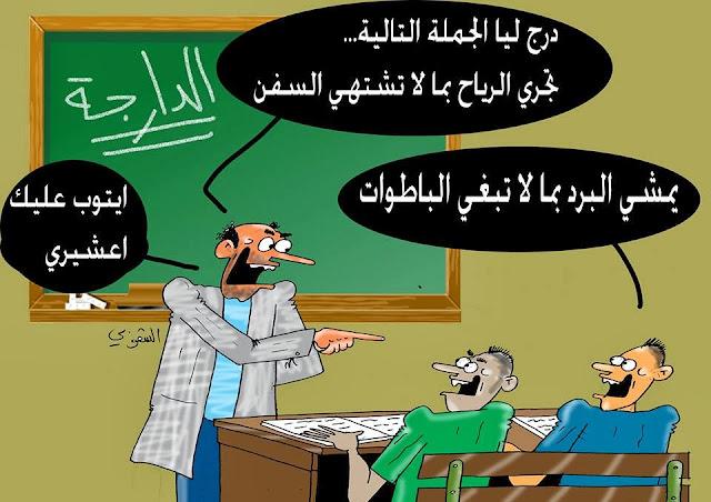كاريكاتور اليوم تدريس الدارجة المغرب