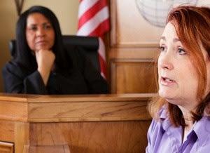Witness testifies in court.