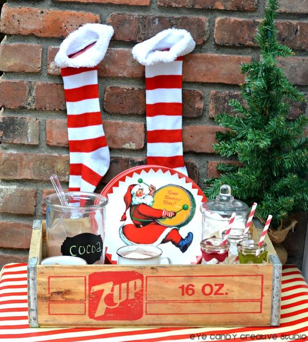 santa plates, world market, stripe stockng, cocoa bar, christmas