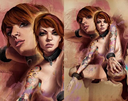 Tatuagens femininas em ilustrações sexy - 05