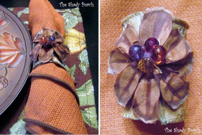 Cloth Napkin and Napkin Ring for Fall Table Setting #napkin #pinecone #napkinring
