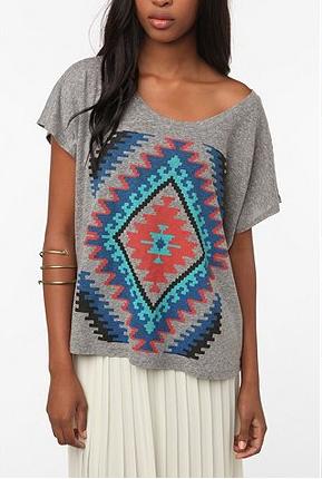 Navajo Quilt Oversized Crop Tee
