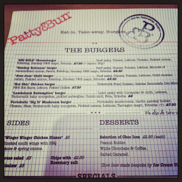 Patty & Bun menu