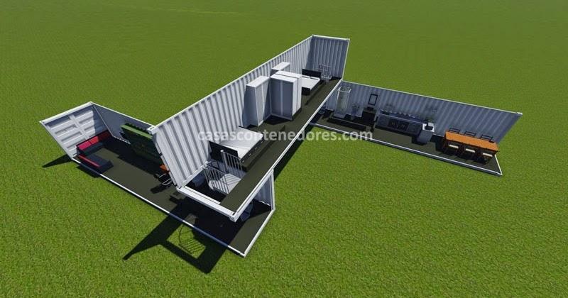Casas contenedores dise o de casa con 3 containers de 40 pies - Diseno de casas con contenedores ...