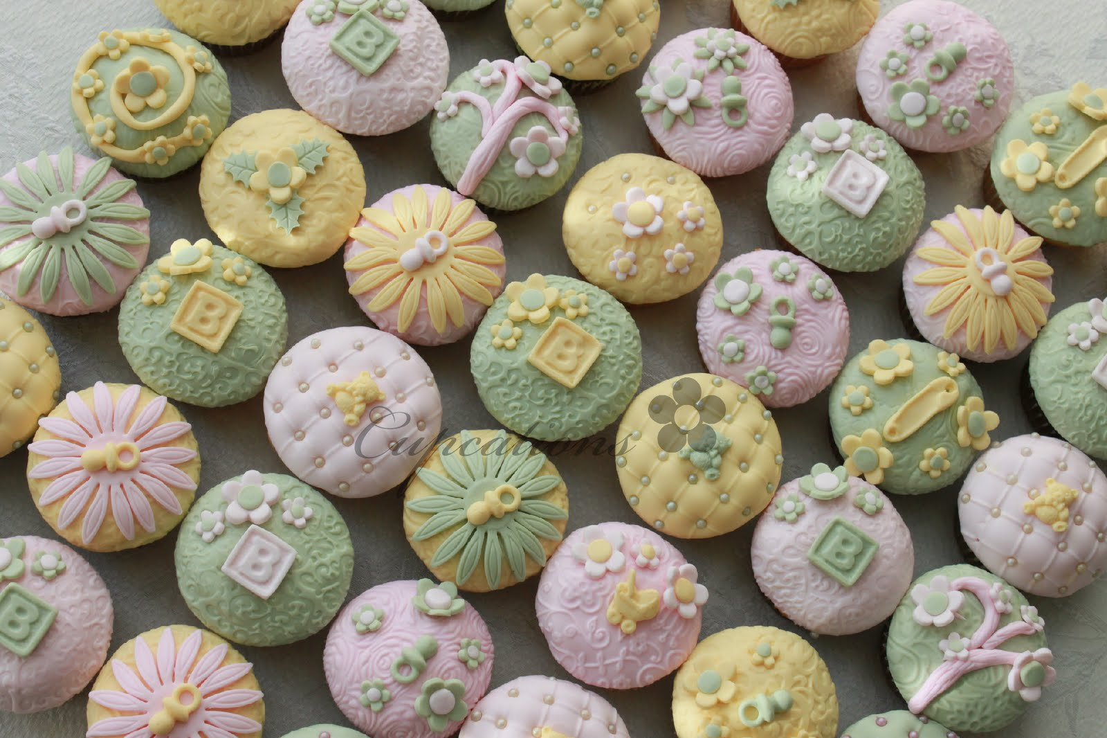 Pale Green, Yellow, And Pink... Baby Shower Cupcakes