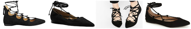 One of these pairs of black lace up flats is from Michael Kors for $495 and the other three are all under $90. Can you guess which one is the designer pair? Click the links below to see if you are correct!