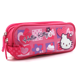 Hello Kitty cupcake and hearts pencil case for school
