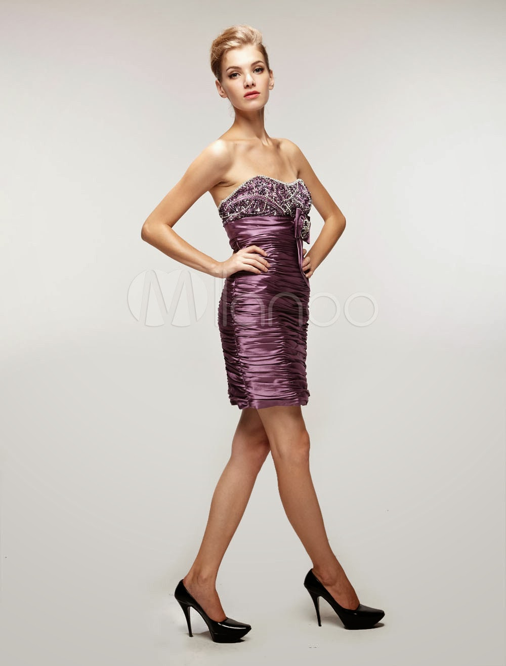China Wholesale Dresses - Attractive Purple Elastic Woven Satin Gauze Strapless Bow Cocktail Dress
