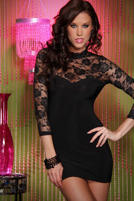BLACK SWEETHEART MESH LACE MOCK NECK LONG SLEEVES MINI DRESS