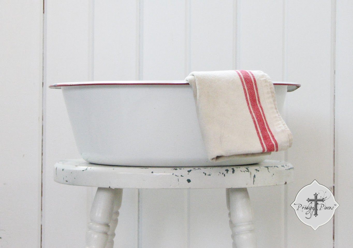 Antique Vintage Large Farmhouse Wash Basin Bowl White with Red Trim via Prodigal Pieces