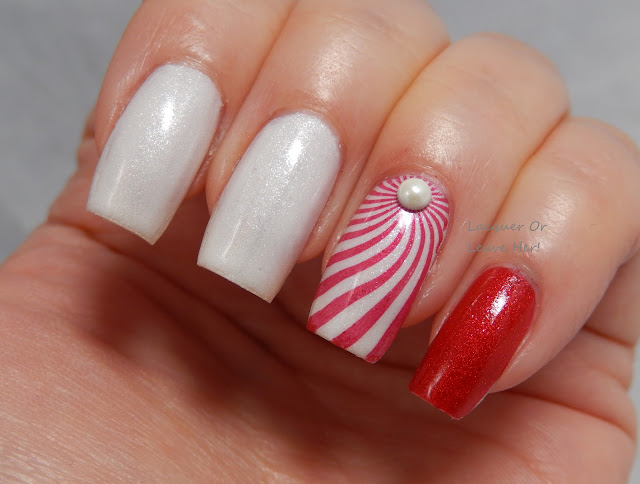 Candy cane skittle with UberChic Beauty 6-01 and Zoya Matte Velvet polishes