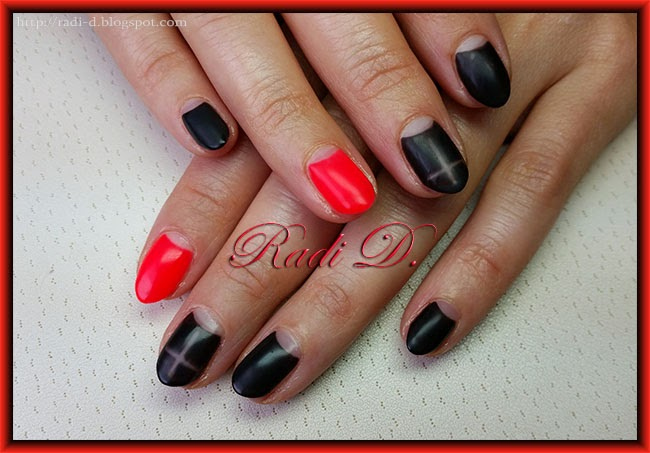 It`s all about nails: Black and orange neon - Matte