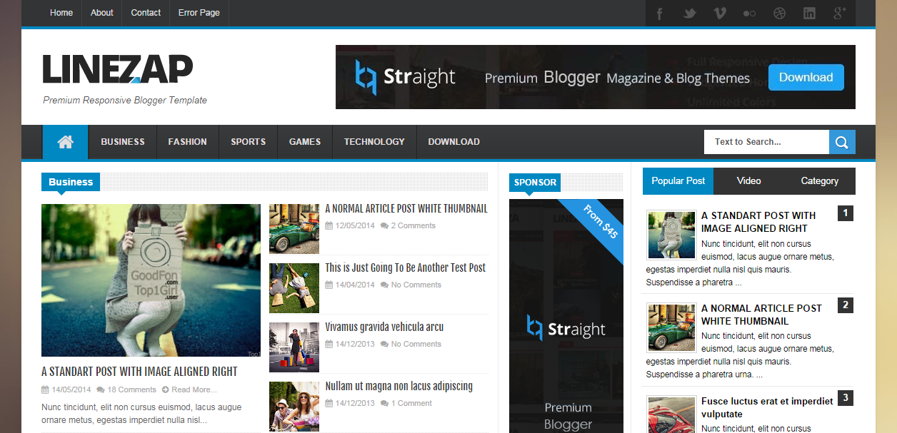 Linezap Responsive Free Blogger Templates