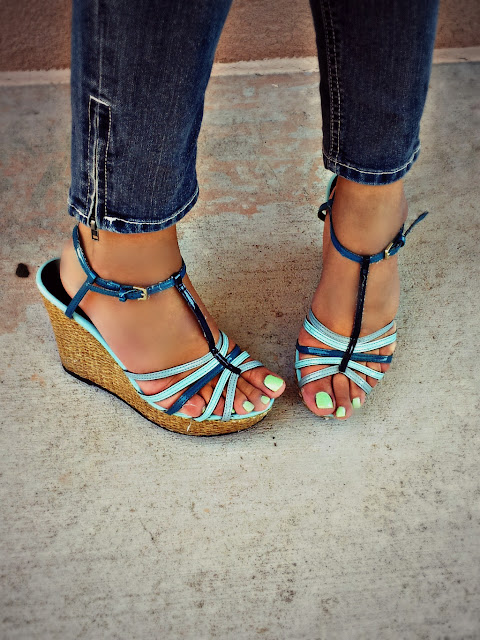 christian siriano for payless blue wedges
