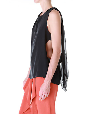 Draped Chiffon Racerback Top