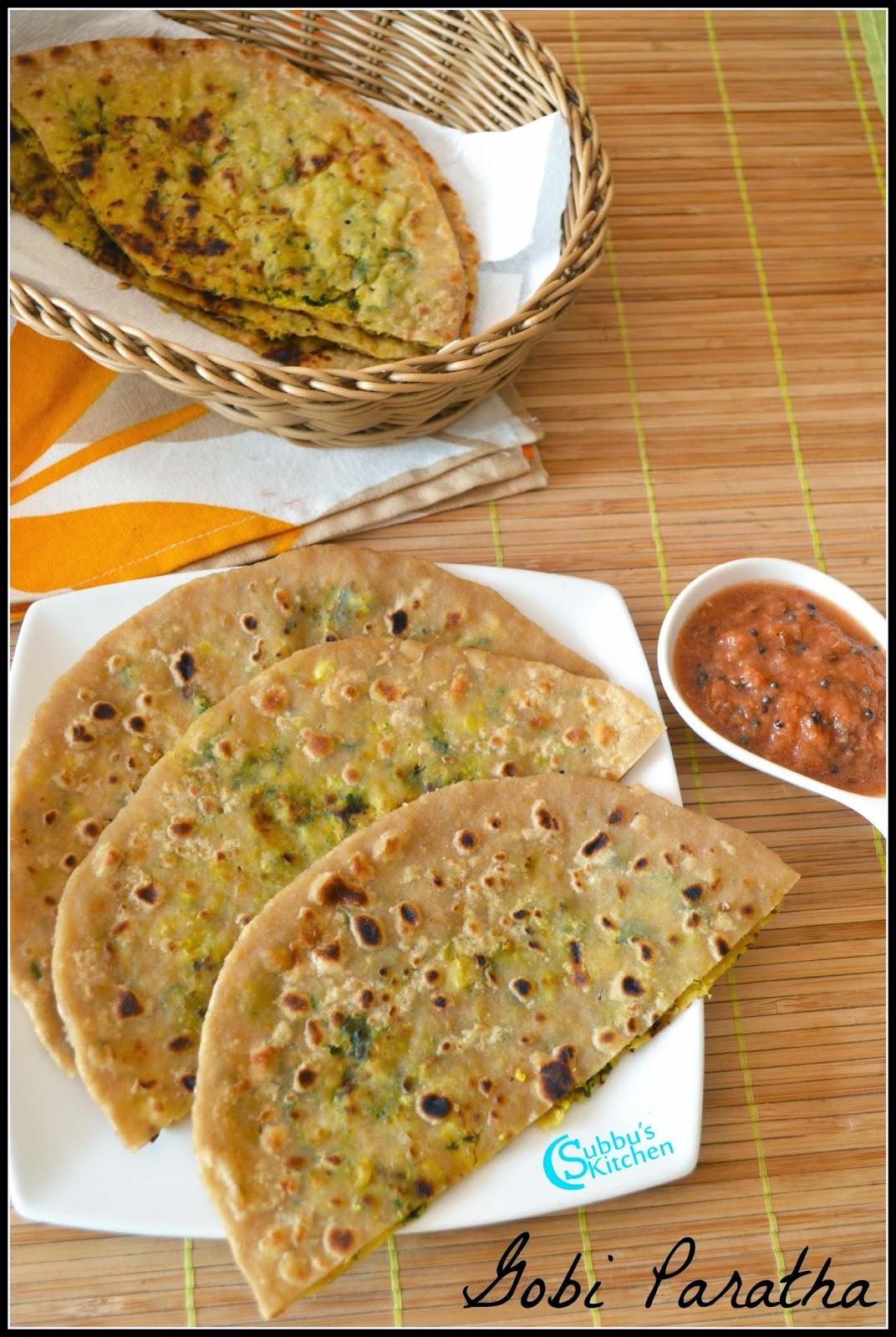 Gobi (Cauliflower) Paratha Recipe - Subbus Kitchen