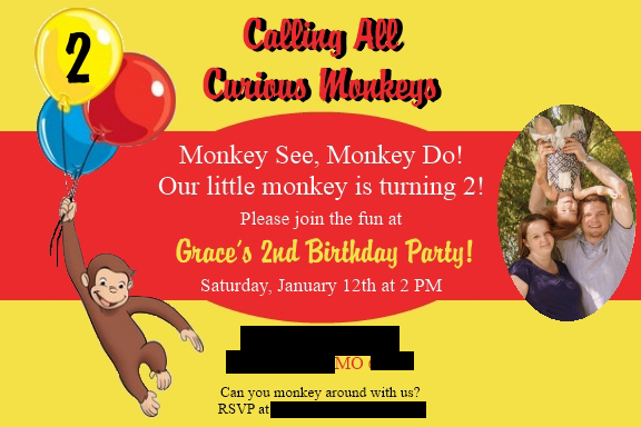 Curious George Birthday Party Invitation