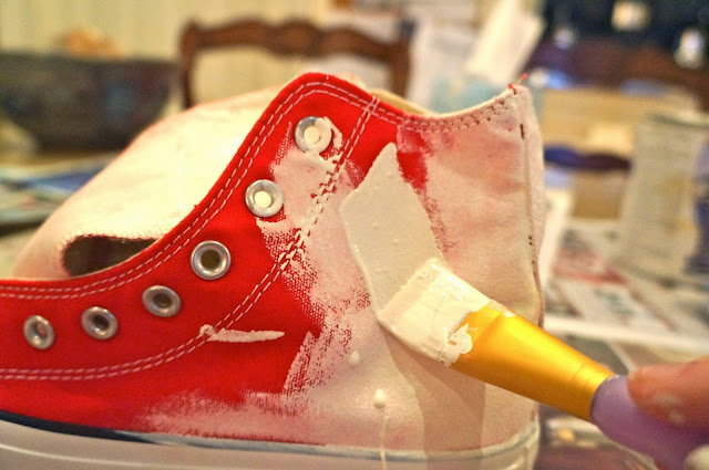 White Paint, Paint Brush, Red Chuck Taylor Converse, DIY