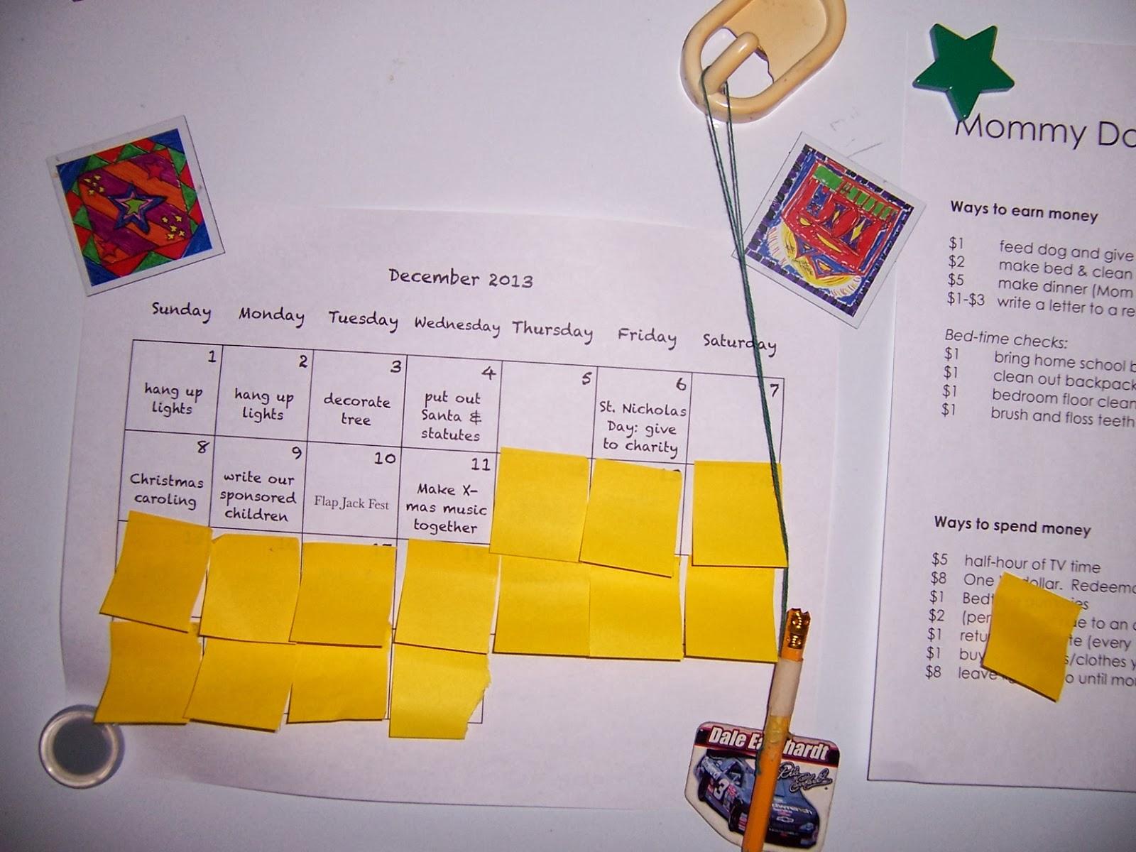 miser mom the sticky note advent calendar